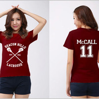 Beacon Hills Lacrosse Shirt McCALL 11 Logo Black, White, Maroon Men & Women Unisex t-Shirt Tee S,M,L,XL,XXL #2
