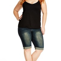 Plus Size Dirty Knee Length Short - City Chic