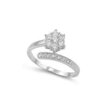 925 Sterling Silver CZ Flower Ring 12MM
