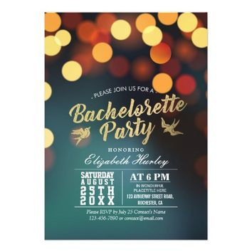 Modern Teal Gold Bokeh Lights Bachelorette Party Card