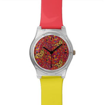 Colorful Organic Pattern Wrist Watch