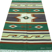 Indian Hand Woven Geometric Rag Rug Floor Mat