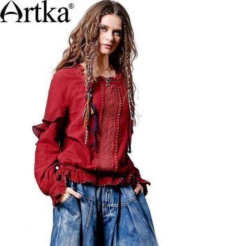 PEAPGB2 Artka Women's Autumn New 2 Colors Hollow Out Lace Patchwork Shirt Vintage O-Neck Long Sleeve Drawsting Ruffled Shirt SA10561Q