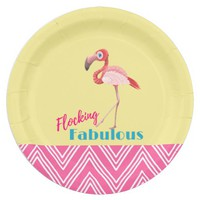 Flocking Fabulous Typography w/ Pink Flamingo Paper Plate