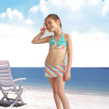 Girls Swimsuit 2016 New Style 1-10 Years Children Bikini Swimwear kids biquini infantil Beachwear maillot de bain fille Costume
