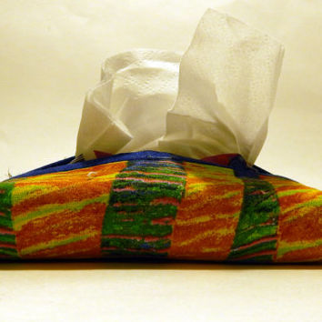 Yellow and Blue Tissue Holder, Travel Tissue Cozy, Pocket tissue holder, Card holder, Kleenex holder