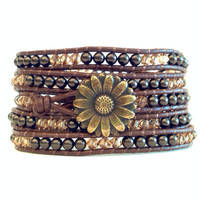 Gold Sunflower Button 5x Beaded Wrap Bracelet w/ Swarovski Pearls and Crystals
