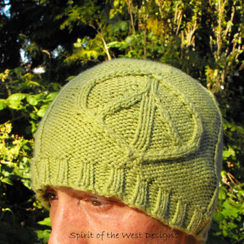 Peace of Mind - Knitting Pattern, teen Adult sizes, hippi, boho, peace, love, winter hat, toque unisex easy quick, Anarchy, mens hat, cable