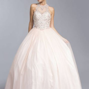 Blush Quinceanera Dress Illusion Halter Beaded Neckline