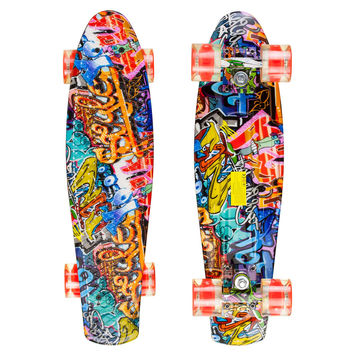 Led Graphic Penny Style Cruiser Board 22 inch Graffiti Plastic Skateboard
