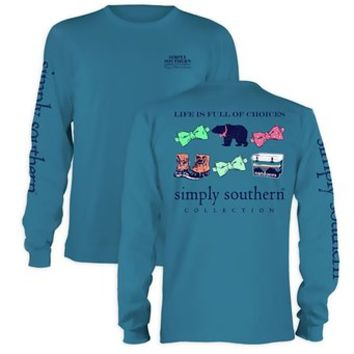Simply Southern Tees Long Sleeve T-Shirt, Life is Full of Choices, Preppy Bear
