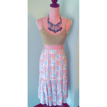 Vintage Floral Skirt with Pink Ribbon Details