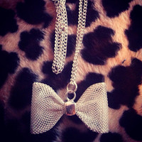 Silver mesh bow necklace  by AngeliqueMerici on Etsy