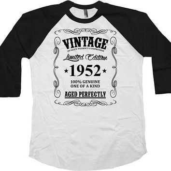 65th Birthday Gift Ideas Custom Year Personalized T Shirt Bday Present B Day Vintage 1952 Birthday Aged Perfectly Baseball Tee - BG41