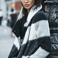 Giant Check Drape Collar Blanket Coat from EXPRESS