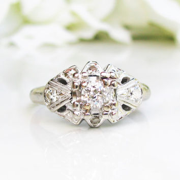Antique Engagement Ring Old European Cut Diamond Art Deco Engagement Ring 0.41ctw Diamond Cluster 14K White Gold Wedding Ring Size 7