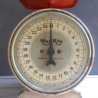 Vintage Way Rite Kitchen Scale/ Antique Kitchen Scale/ Orange and Cream Scale