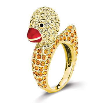 Yellow Swarovski Crystal Duckling Ring