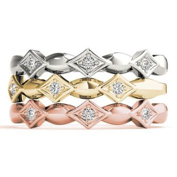 Stackables 1/2 Eternity Tri-Tone Gold Simple 3-Band Set