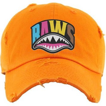 CRAZY SHARK MOUTH Baws Orange Dad Hat