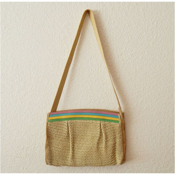 Vintage 80s Straw Pastel Shoulder Cross Body Bag