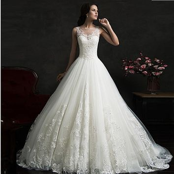 Vintage cheap amelia sposa Wedding Dresses bridal gown Scoop Ruffles wedding Gowns Sleeveless Layered Lace dress