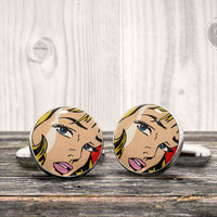 POP ART cufflinks - Roy Lichtenstein style woman face - Very elegant mens cuff links