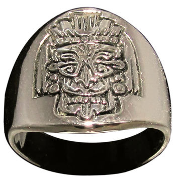 Mayan Mask Ring Inca Symbol in Bronze