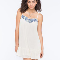En Creme Embroidered Dress Cream  In Sizes