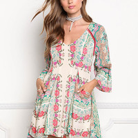 Multi Print Pleated Pocket Shift Dress