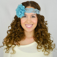 Flower Lace Headband Turquoise turban - women's hair band wedding headband bridesmaids gifts beach headbands boho headbands blue headband