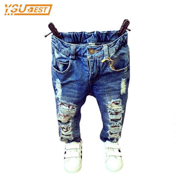 2017 Fashion Jeans Boy Girl Denim Pants 1-12Yrs Baby Boys Girls Broken Hole Pants Trousers Casual Ripped Jeans Children Clothing