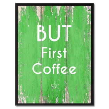 But First Coffee Saying Canvas Print, Black Picture Frame Home Decor Wall Art Gifts