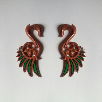 Fake gauge earrings, wings, wooden earrings, earring with painting, handmade earrings, hand carved jewelry, organic body jewelry