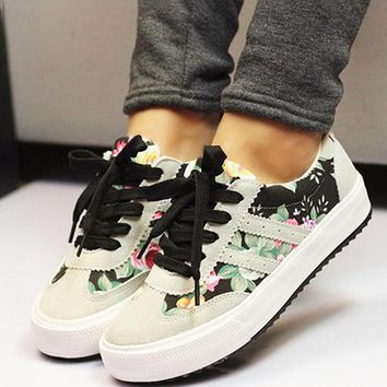 2016 new fashion Breathable cozy print women casual flat with canvas shoes