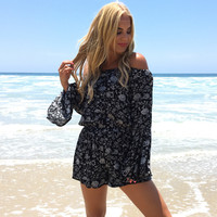 Sunset Crest Floral Off Shoulder Romper
