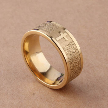 Beautiful 7mm Gold Tone Spanish Holy Bible Lord's Prayer Cross Ring Men or Women