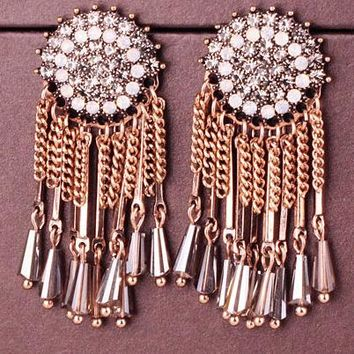 South Korea luxury long style crystal chain tassel earrings female personality vintage full round earrings earrings earrings.