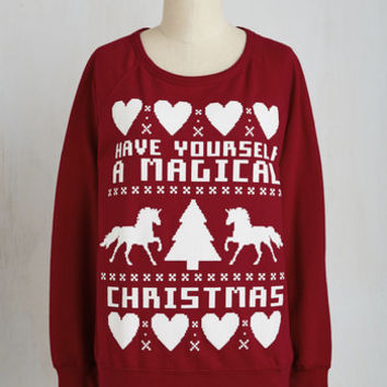 Quirky Mid-length Long Sleeve One Horn Open Sleigh Sweatshirt