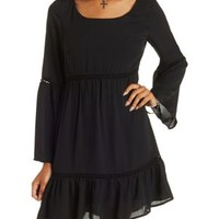 Black Bell Sleeve Babydoll Dress by Charlotte Russe