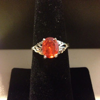 Spessartite Garnet Sterling Ring Size 8 Orange Stone 1.25 Carat CT Silver 925 Vintage Jewelry Bridal Engagement Wedding Promise Gift Sparkly