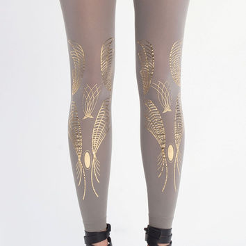 NEW--- Galaxy, gold on grey leggings, one size the Harmony collection