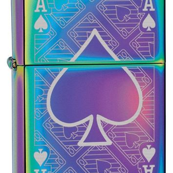 Zippo Custom Lighter: Ace of Spades Engraved - Spectrum 78747