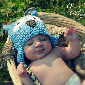 baby boy cotton crochet owl hat 0 to 6 by stitchesbystephann