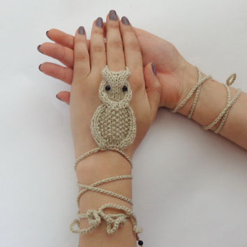 Owl Hand Anklet - Knit Woman Beach Accessories Cream Or Choose Your Color
