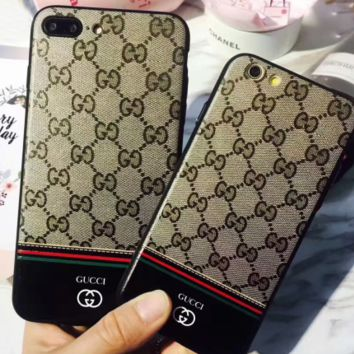 GUCCI iphone7/8 plus mobile phone shell couple classic big-name silicone soft iPhone6s protective cover