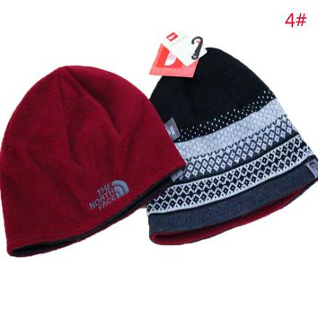 The North Face Fashion New Embroidery Letter Knit Keep Warm Hat Thick Women Men Cap