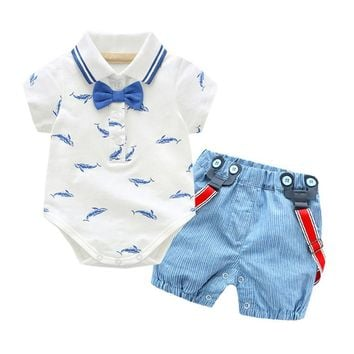Bow Tie Gentleman Denim Top Set For Baby Boy