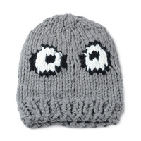 Gray Big Eyes Knit Beanie Hat