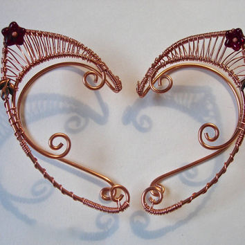 Pair of Beautiful Copper Faerie Ears with ruby colored Czech glass flower accent, Elf Ear Cuffs, Fairy, Renaissance, Elven